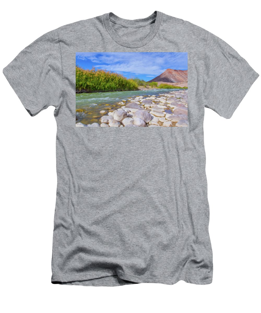 Big Bend Ranch State Park Men's T-Shirt (Athletic Fit) featuring the digital art Rio Grande Hoodoos Trail Head by SR Green