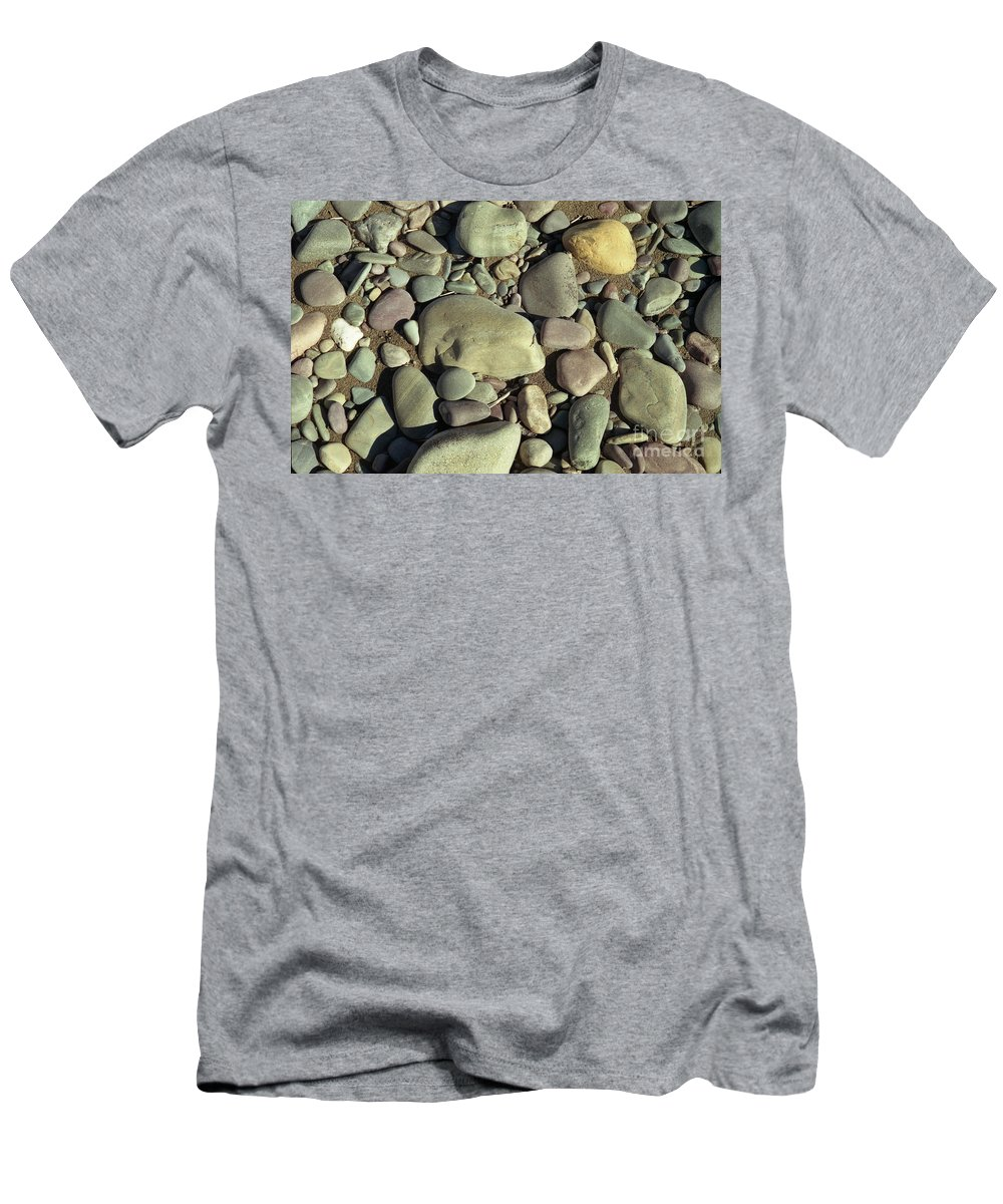 River Rock Men's T-Shirt (Athletic Fit) featuring the photograph River Rock by Richard Rizzo