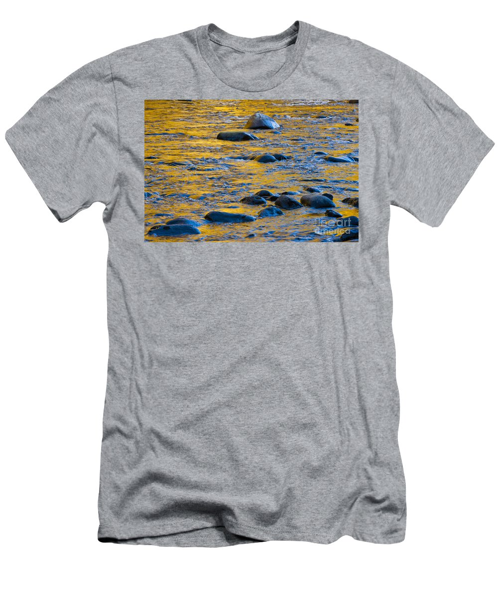 Abstract Men's T-Shirt (Athletic Fit) featuring the photograph River Water And Rocks by Bill Brennan - Printscapes