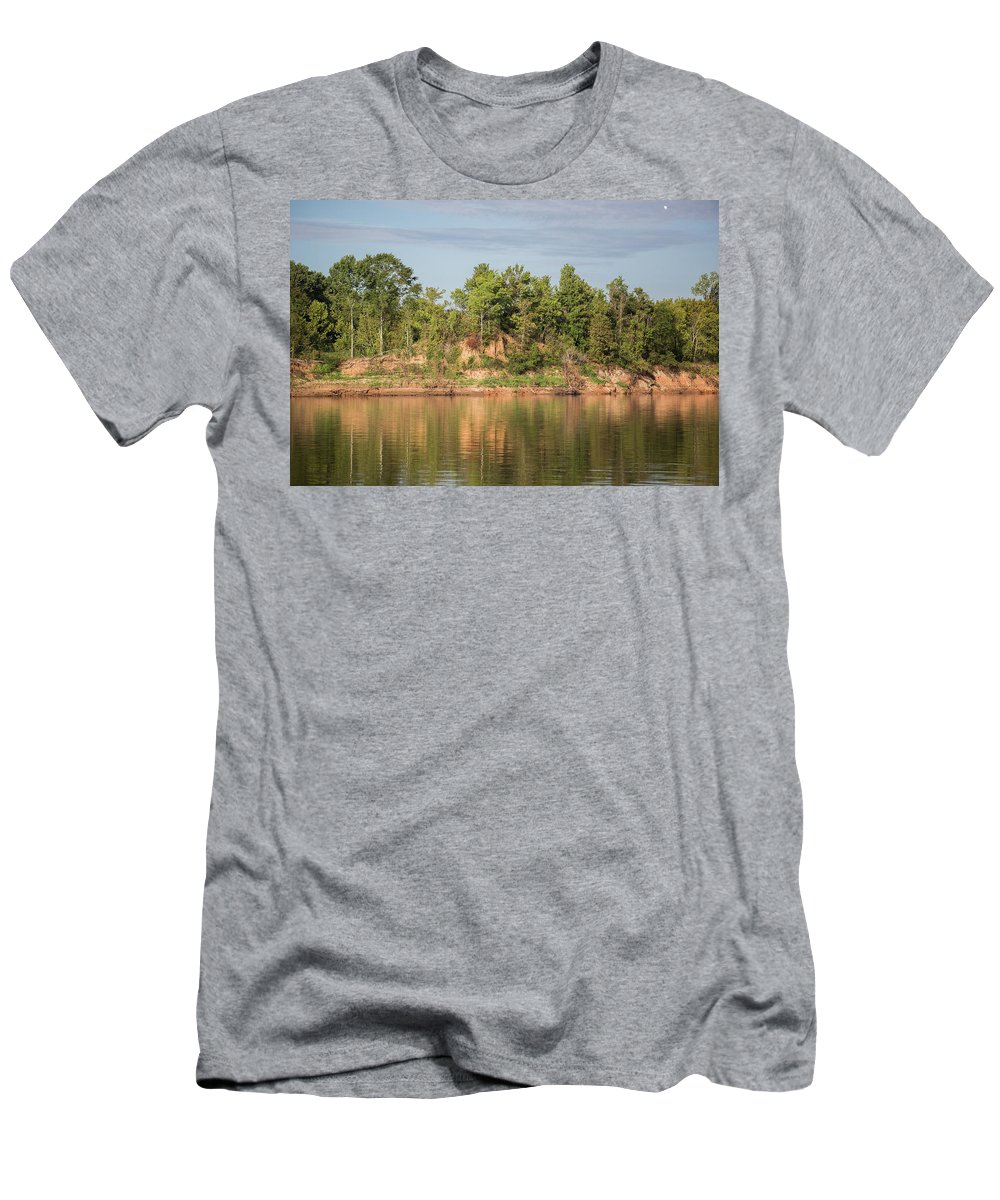 Ronnie Maum Men's T-Shirt (Athletic Fit) featuring the photograph Riverbank Along The Red by Ronnie Maum