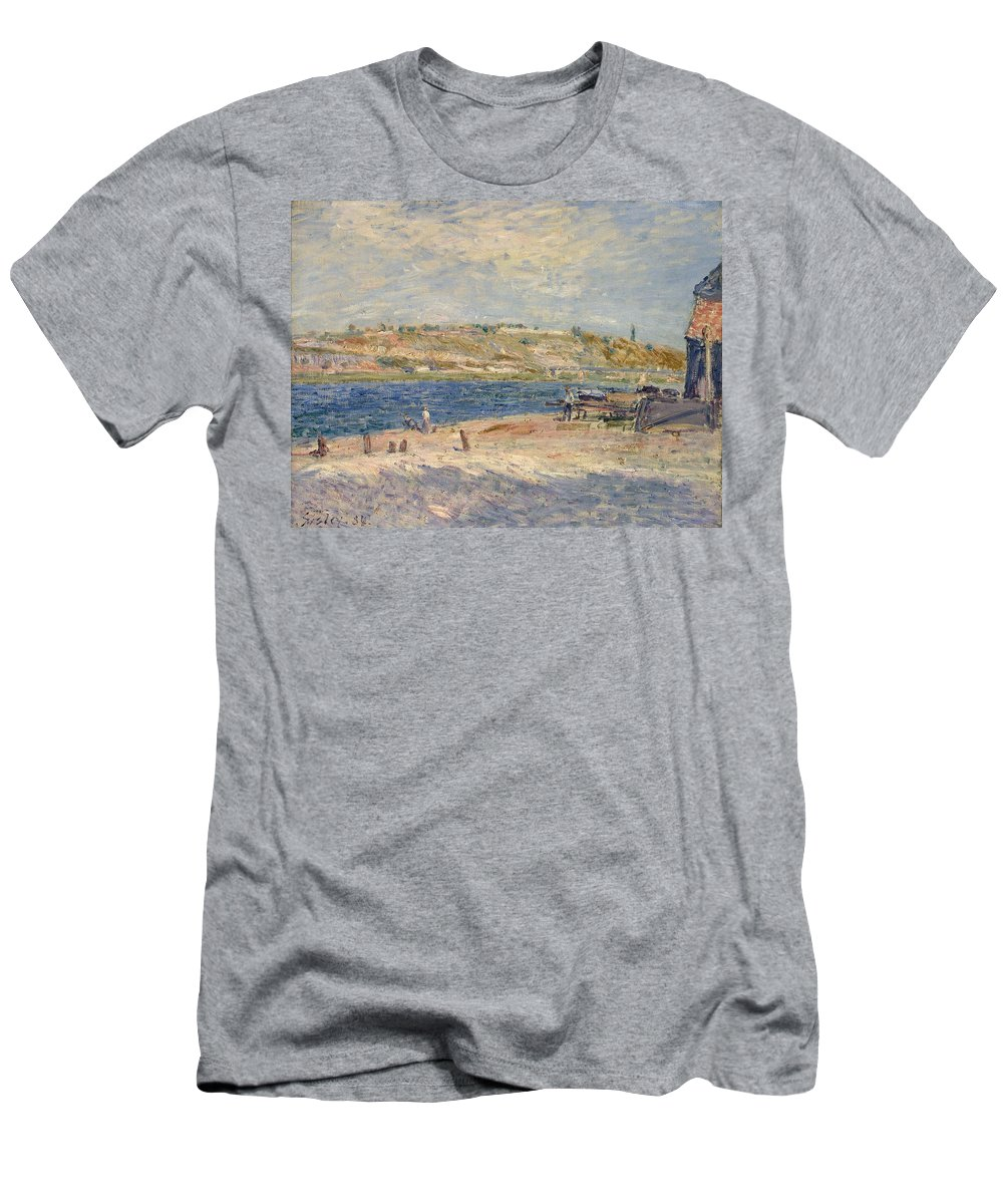 Riverbanks At Saint-mammes Men's T-Shirt (Athletic Fit) featuring the painting Riverbanks At Saint by MotionAge Designs