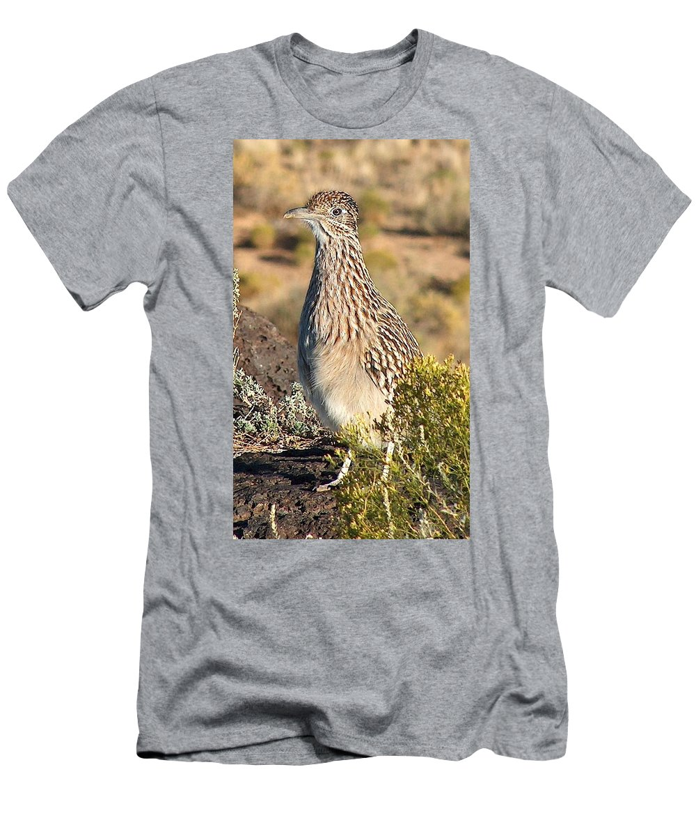 Roadrunner Men's T-Shirt (Athletic Fit) featuring the photograph Roadrunnner At The Petroglyphs by Tim McCarthy