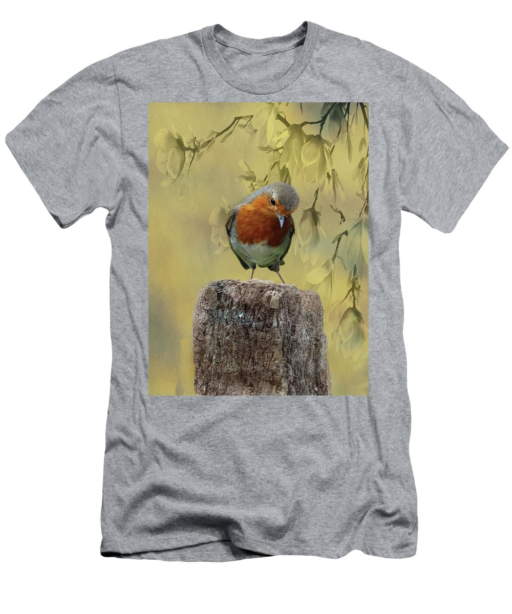 Redbreast Men's T-Shirt (Athletic Fit) featuring the photograph Robin Bird by Movie Poster Prints