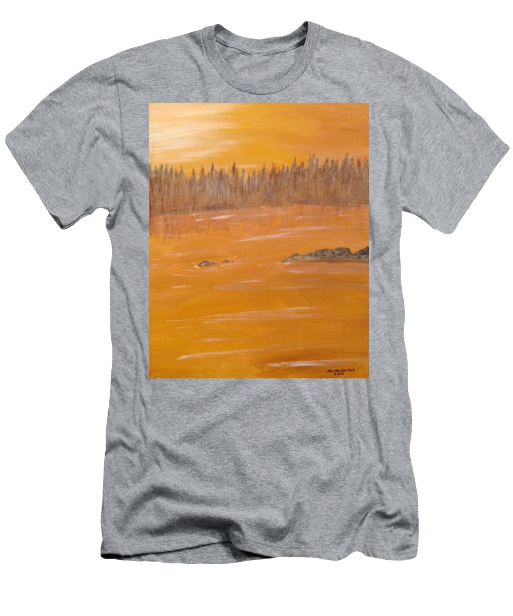 Northern Ontario Men's T-Shirt (Athletic Fit) featuring the painting Rock Lake Morning 2 by Ian MacDonald