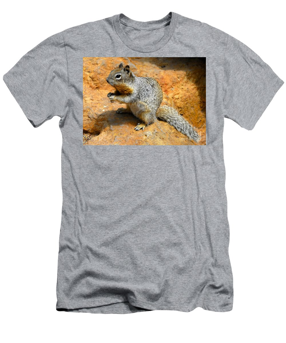 Rock Squirrel Men's T-Shirt (Athletic Fit) featuring the photograph Rock Squirrel by David Lee Thompson