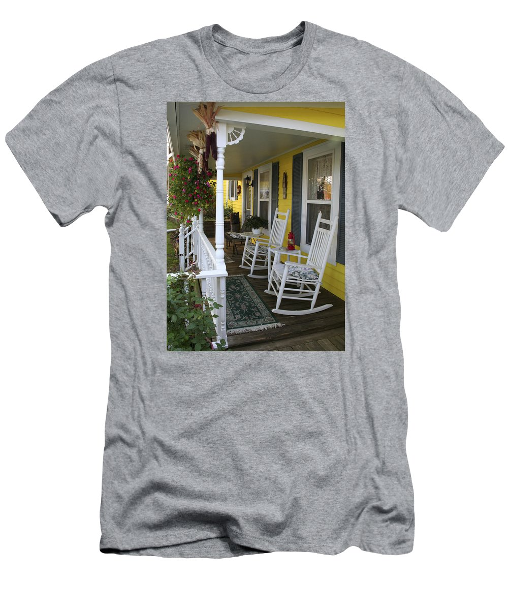 Rocking Chair Men's T-Shirt (Athletic Fit) featuring the photograph Rockers On The Porch by Margie Wildblood