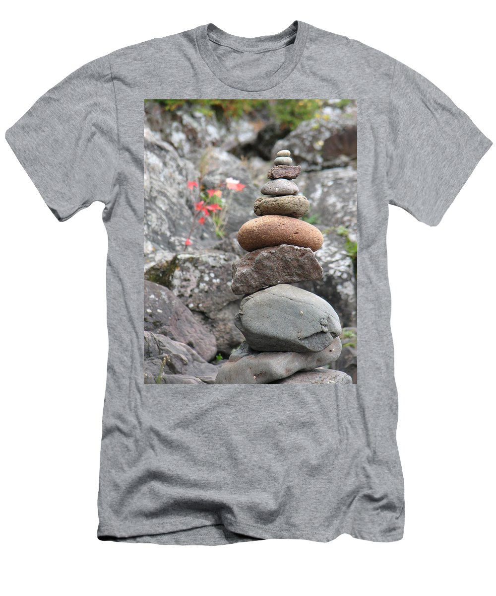 Rocks Men's T-Shirt (Athletic Fit) featuring the photograph Rocks And Roses by Kelly Mezzapelle