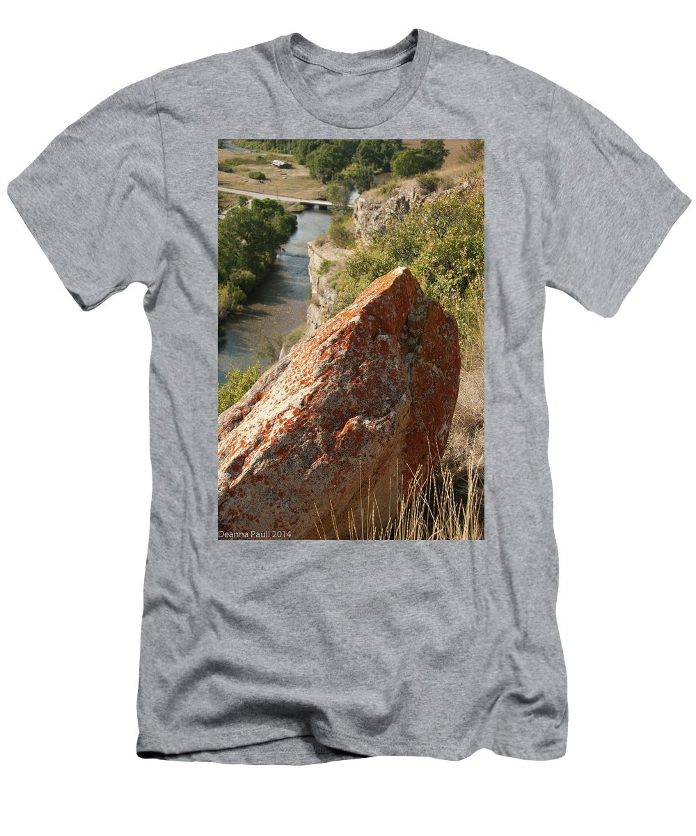Nature Men's T-Shirt (Athletic Fit) featuring the photograph Rocky Edge by Deanna Paull