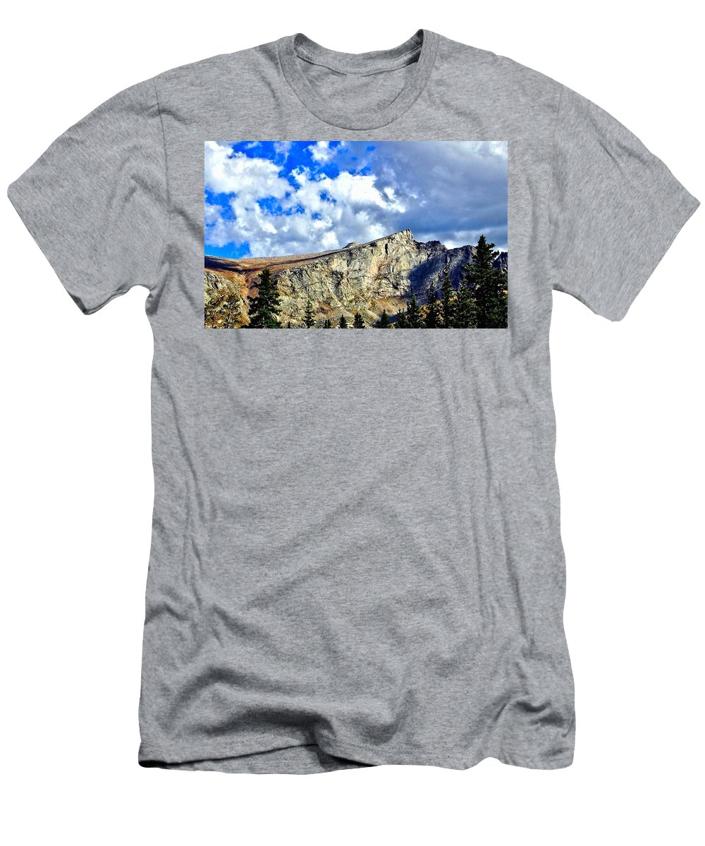 Landscape Men's T-Shirt (Athletic Fit) featuring the photograph Rocky Mountain Summit by Amy McDaniel