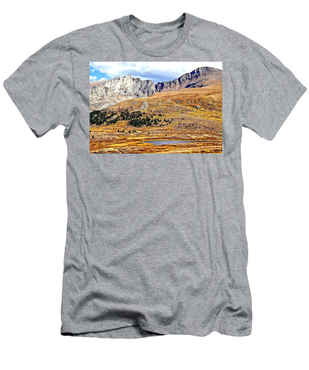 Tundra Men's T-Shirt (Athletic Fit) featuring the photograph Rocky Mountain Tundra And Lake by Amy McDaniel