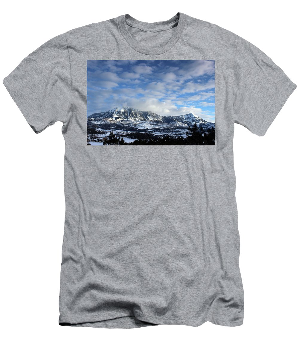 Lamborn Men's T-Shirt (Athletic Fit) featuring the photograph Rocky Mountains by Samantha Burrow