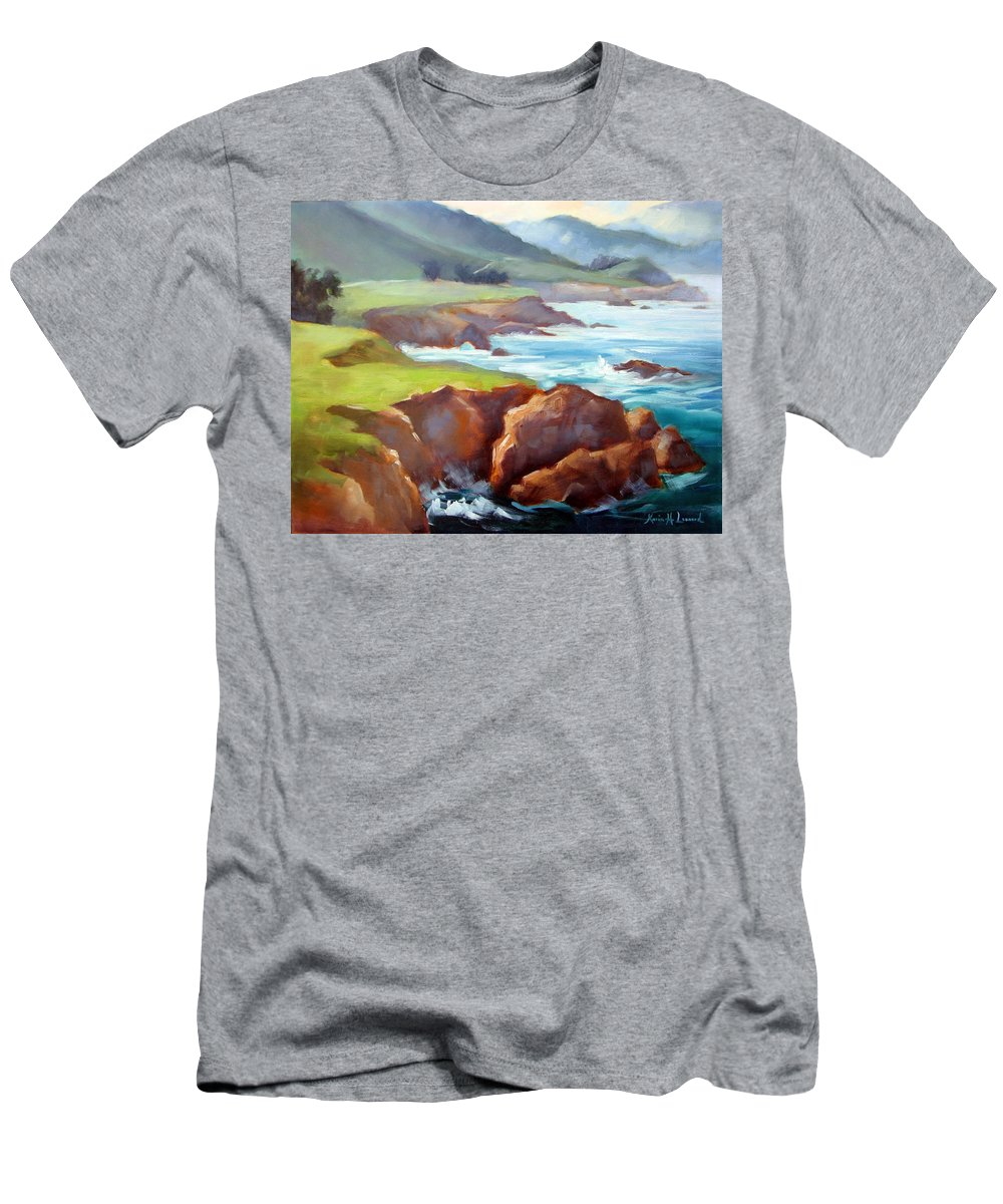 Big Sur Men's T-Shirt (Athletic Fit) featuring the painting Rocky Point Afternoon Big Sur by Karin Leonard