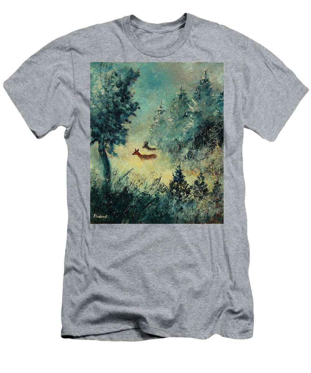 Animal Men's T-Shirt (Athletic Fit) featuring the painting Roe Deers In September Morning Light by Pol Ledent