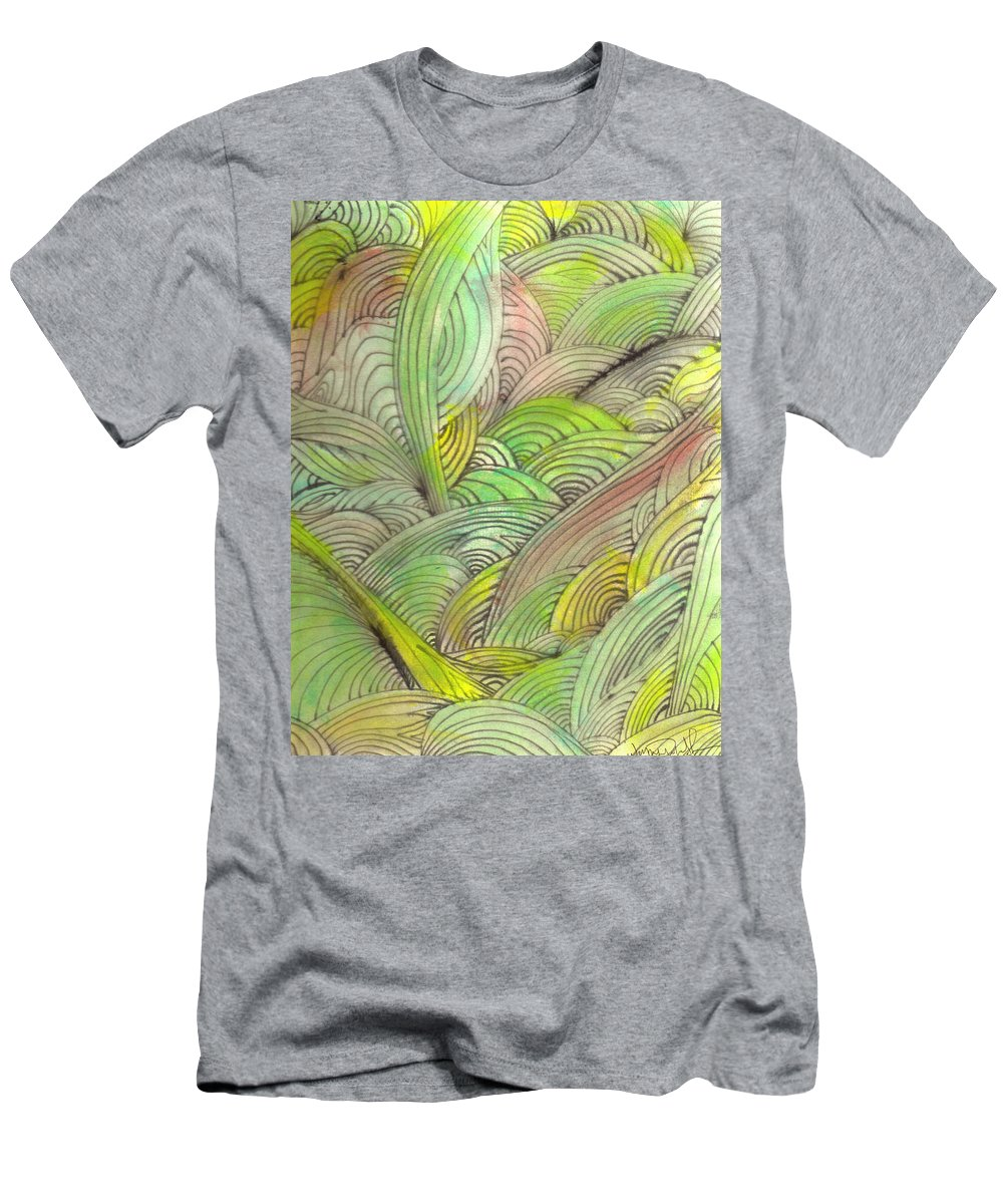 Abstract Men's T-Shirt (Athletic Fit) featuring the painting Rolling Patterns In Greens by Wayne Potrafka
