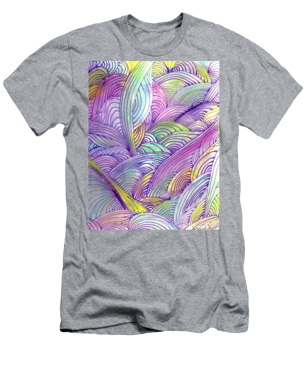 Abstract Men's T-Shirt (Athletic Fit) featuring the painting Rolling Patterns In Pastel by Wayne Potrafka