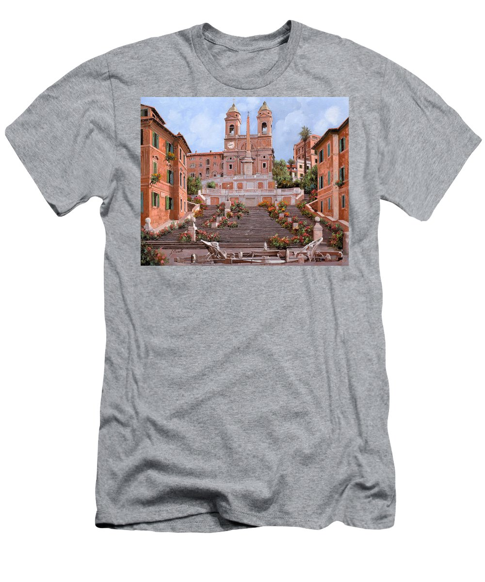 Rome Men's T-Shirt (Athletic Fit) featuring the painting Rome-piazza Di Spagna by Guido Borelli