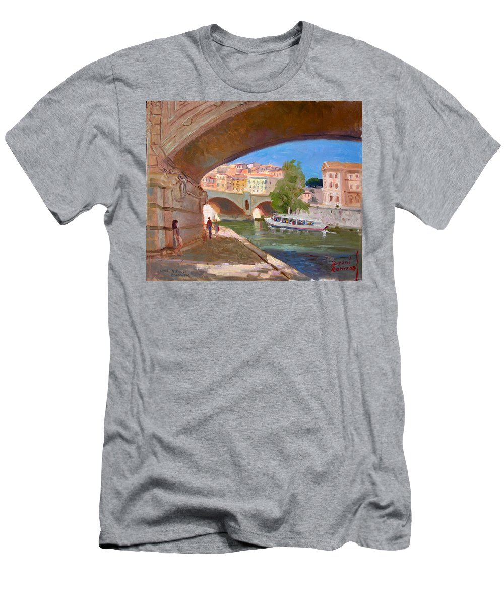 Rome Men's T-Shirt (Athletic Fit) featuring the painting Rome Ponte Vittoria Emanuele by Ylli Haruni