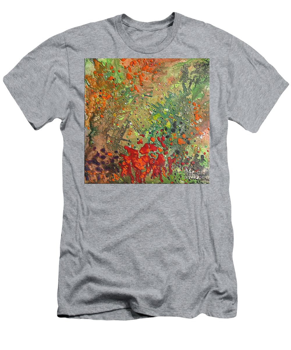 Garden Men's T-Shirt (Athletic Fit) featuring the painting Rose Garden by Dragica Micki Fortuna