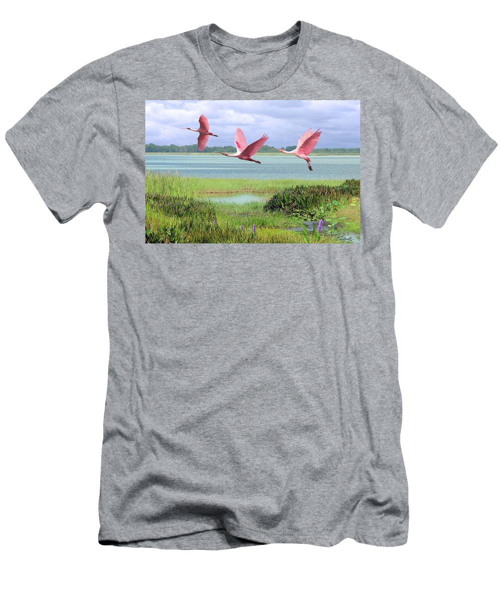 Birds Men's T-Shirt (Athletic Fit) featuring the digital art Roseate Spoonbills Of Florida Bay by M Spadecaller