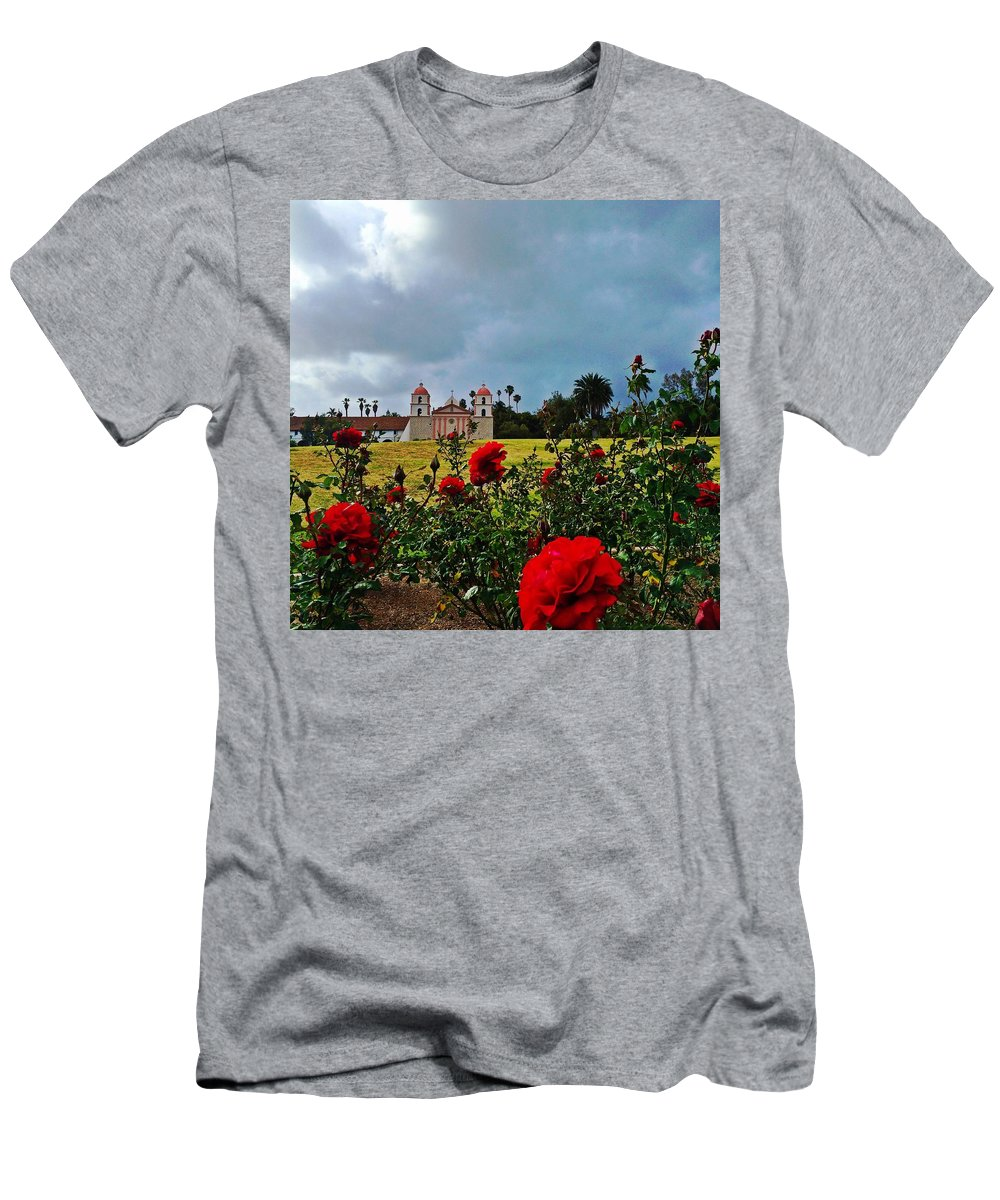 Santa Barbara Mission Men's T-Shirt (Athletic Fit) featuring the photograph Roses Are Red by JoJo Brown