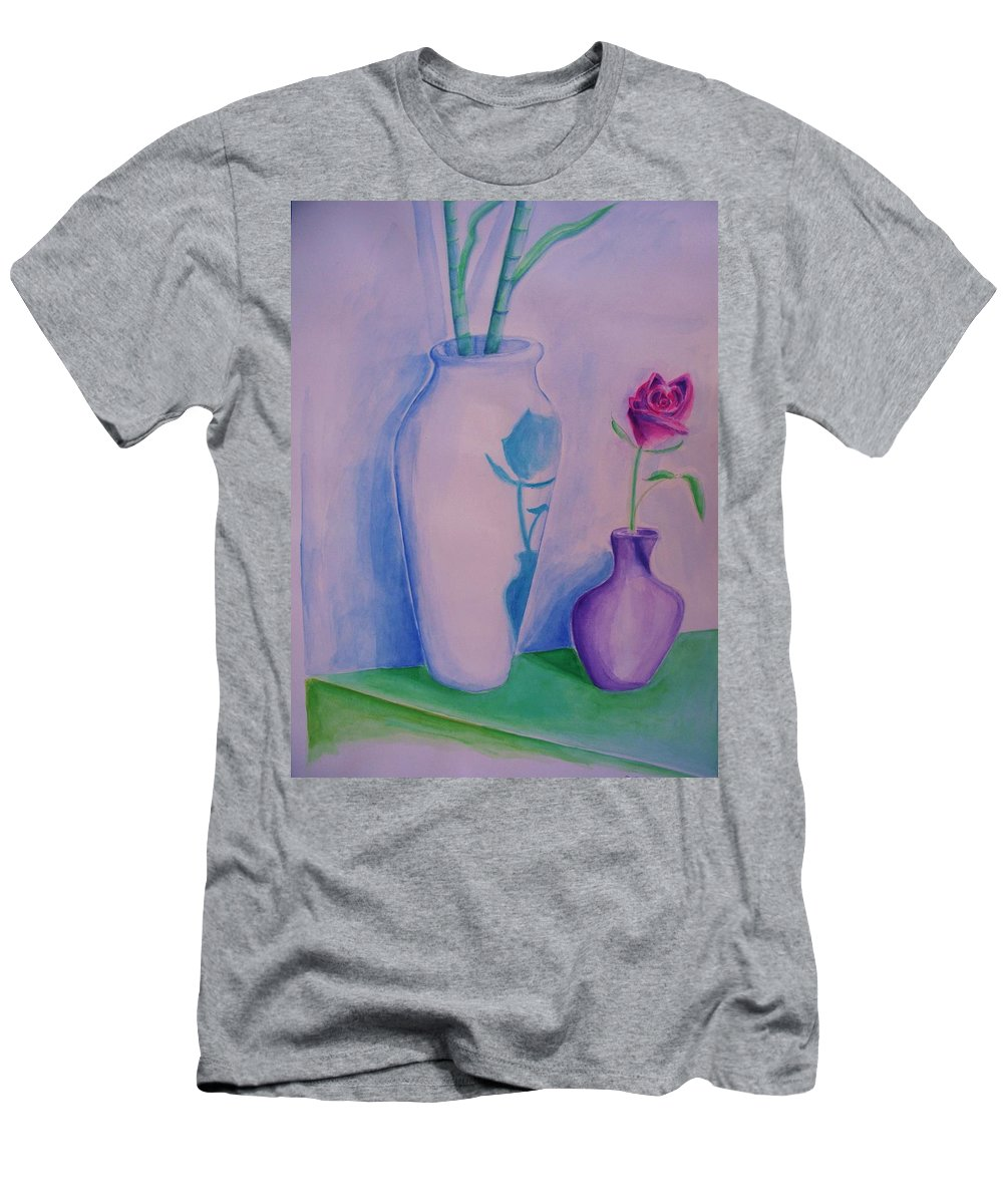 Red Rose Men's T-Shirt (Athletic Fit) featuring the painting Roses In Vase by Eric Schiabor