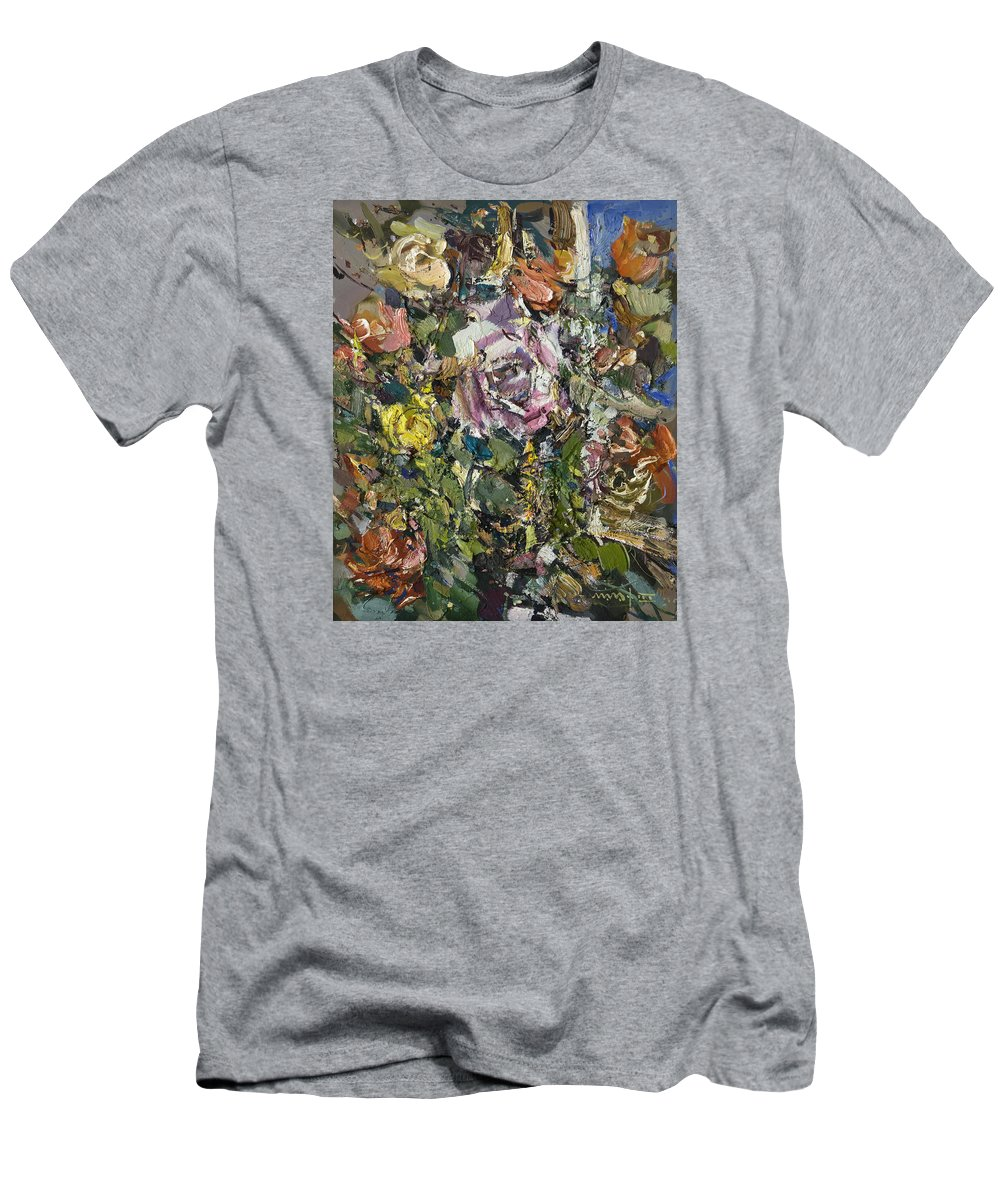 Roses Men's T-Shirt (Athletic Fit) featuring the painting Roses by Nikolay Malafeev