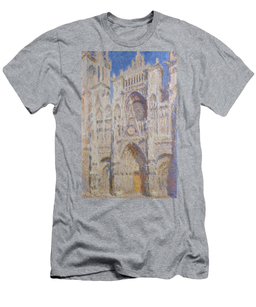 Architectural Men's T-Shirt (Athletic Fit) featuring the painting Rouen Cathedral, The Portal, Sunlight by Claude Monet