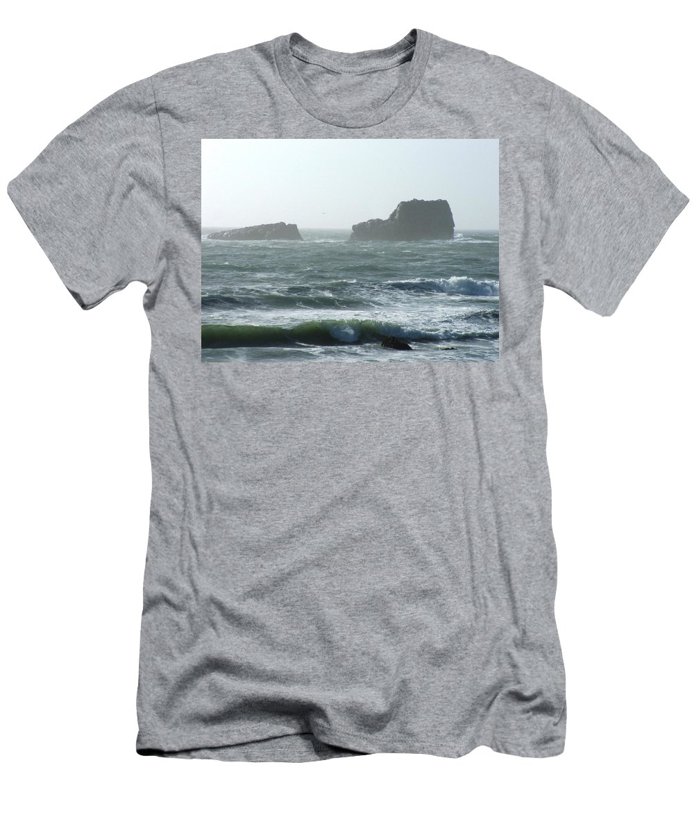 Oceanes Men's T-Shirt (Athletic Fit) featuring the photograph Rough Waters by Shari Chavira