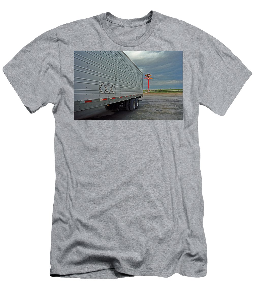 66 Men's T-Shirt (Athletic Fit) featuring the photograph Route 66 - Dixie Truck Stop by Frank Romeo