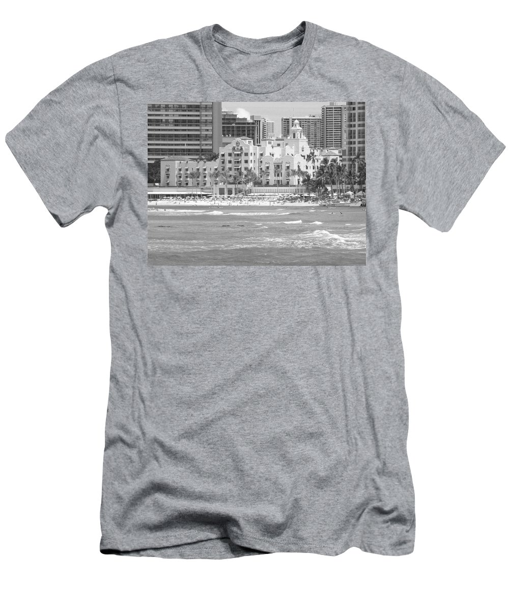 Black And White Men's T-Shirt (Athletic Fit) featuring the photograph Royal Hawaiian Hotel - Waikiki by Mary Deal