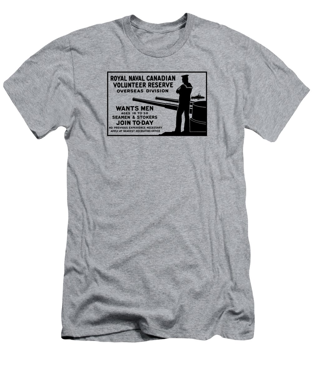 World War One Men's T-Shirt (Athletic Fit) featuring the mixed media Royal Naval Canadian Volunteer Reserve by War Is Hell Store