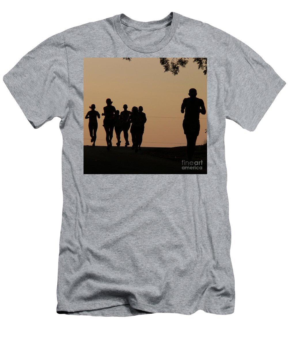 Running Men's T-Shirt (Athletic Fit) featuring the photograph Running by Angela Wright