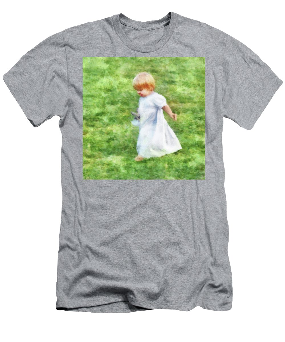 Girl Men's T-Shirt (Athletic Fit) featuring the digital art Running Barefoot In The Grass by Francesa Miller