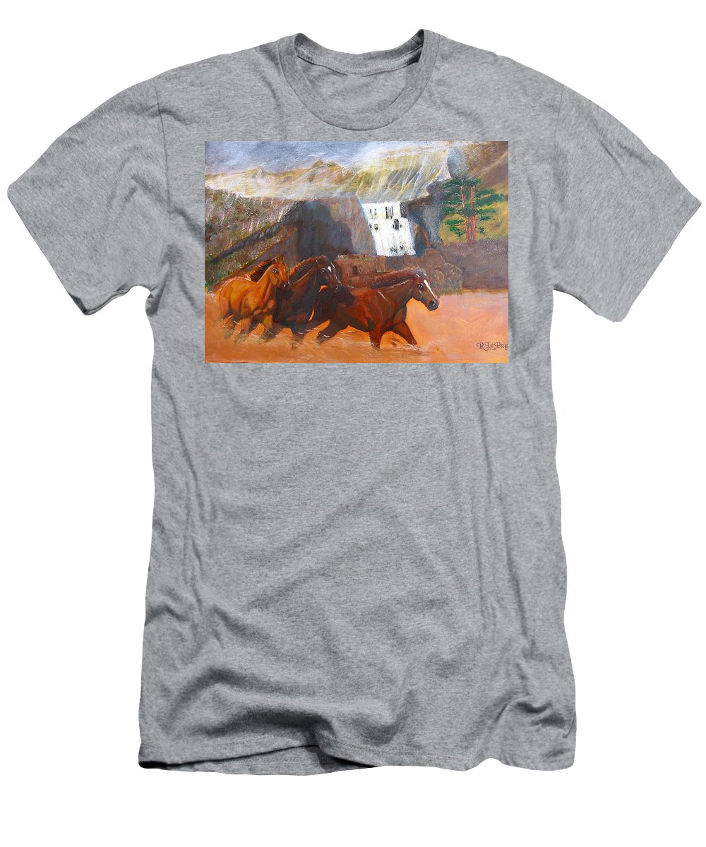 Horses Men's T-Shirt (Athletic Fit) featuring the painting Running Before The Storm by Richard Le Page