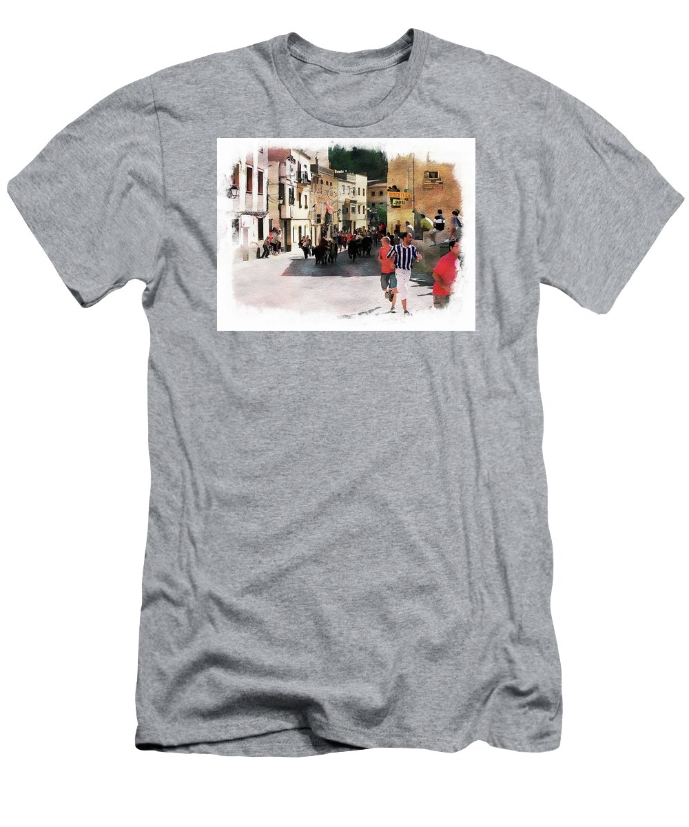 Event Men's T-Shirt (Athletic Fit) featuring the photograph Running Of The Bulls by Anthony Dezenzio