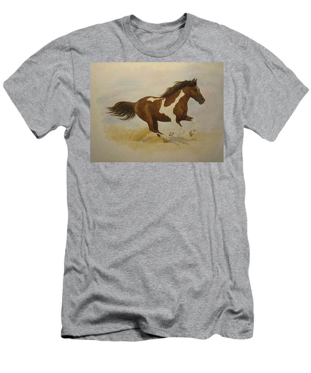 Paint Horse Men's T-Shirt (Athletic Fit) featuring the painting Running Paint by Jeff Lucas