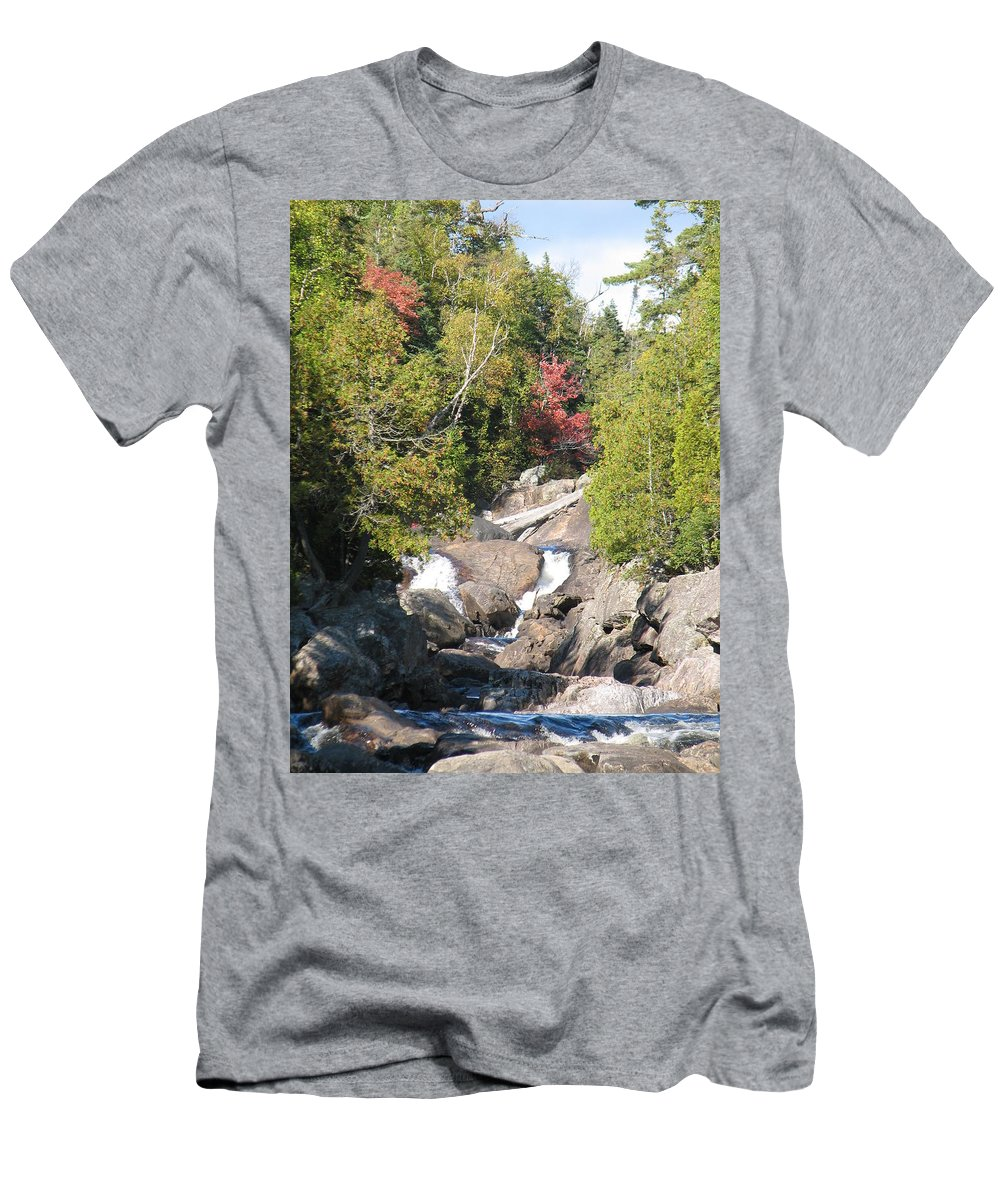 Waterfall Men's T-Shirt (Athletic Fit) featuring the photograph Running Through The Woods by Kelly Mezzapelle