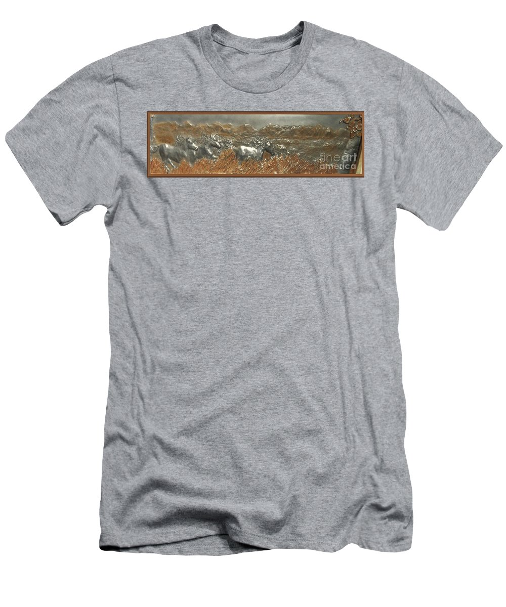 Horses....running....western....handsculpted....iron..wind....iron...................sculpture Men's T-Shirt (Athletic Fit) featuring the sculpture Running With The Wind by Lenna-kay