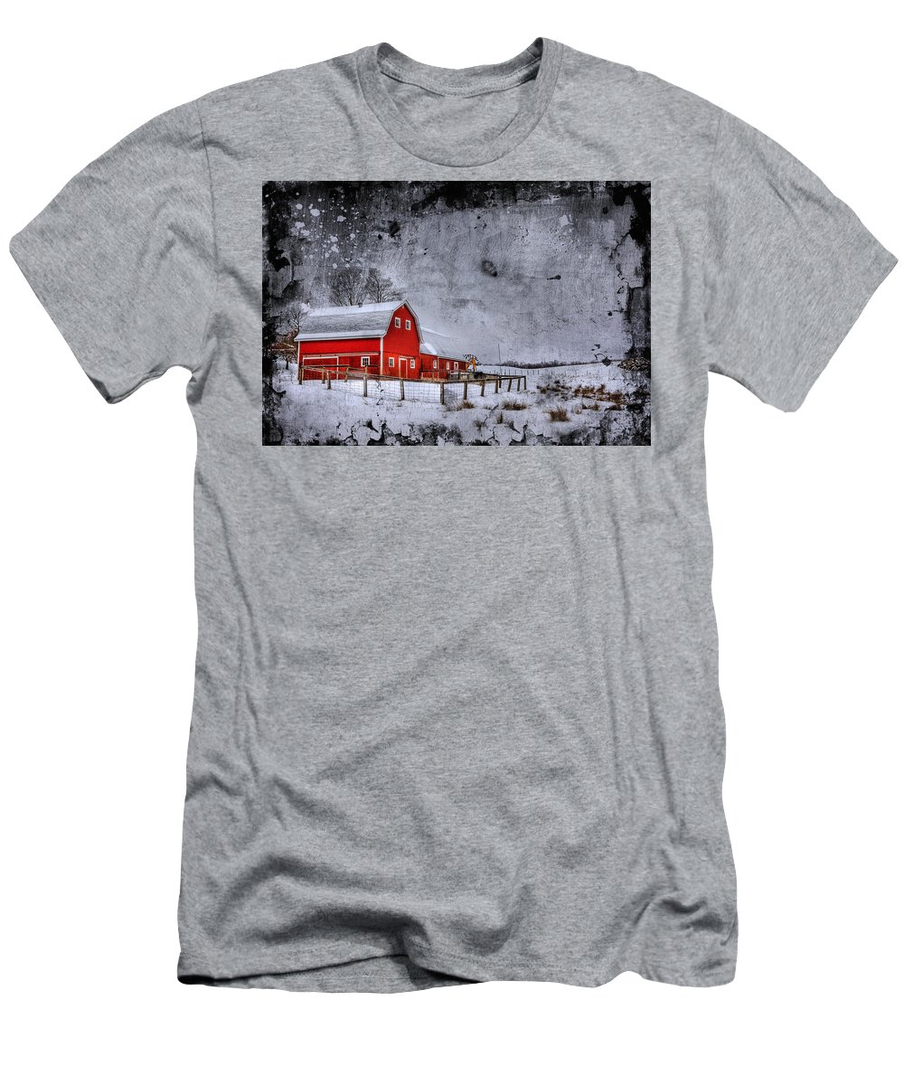 Barn Men's T-Shirt (Athletic Fit) featuring the photograph Rural Textures by Evelina Kremsdorf