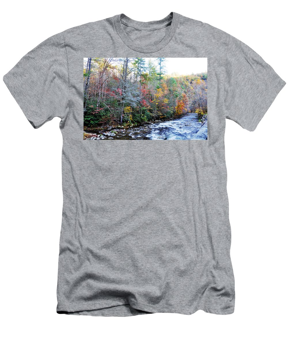Smokey Mountain Men's T-Shirt (Athletic Fit) featuring the photograph Rushing by Brittany Horton