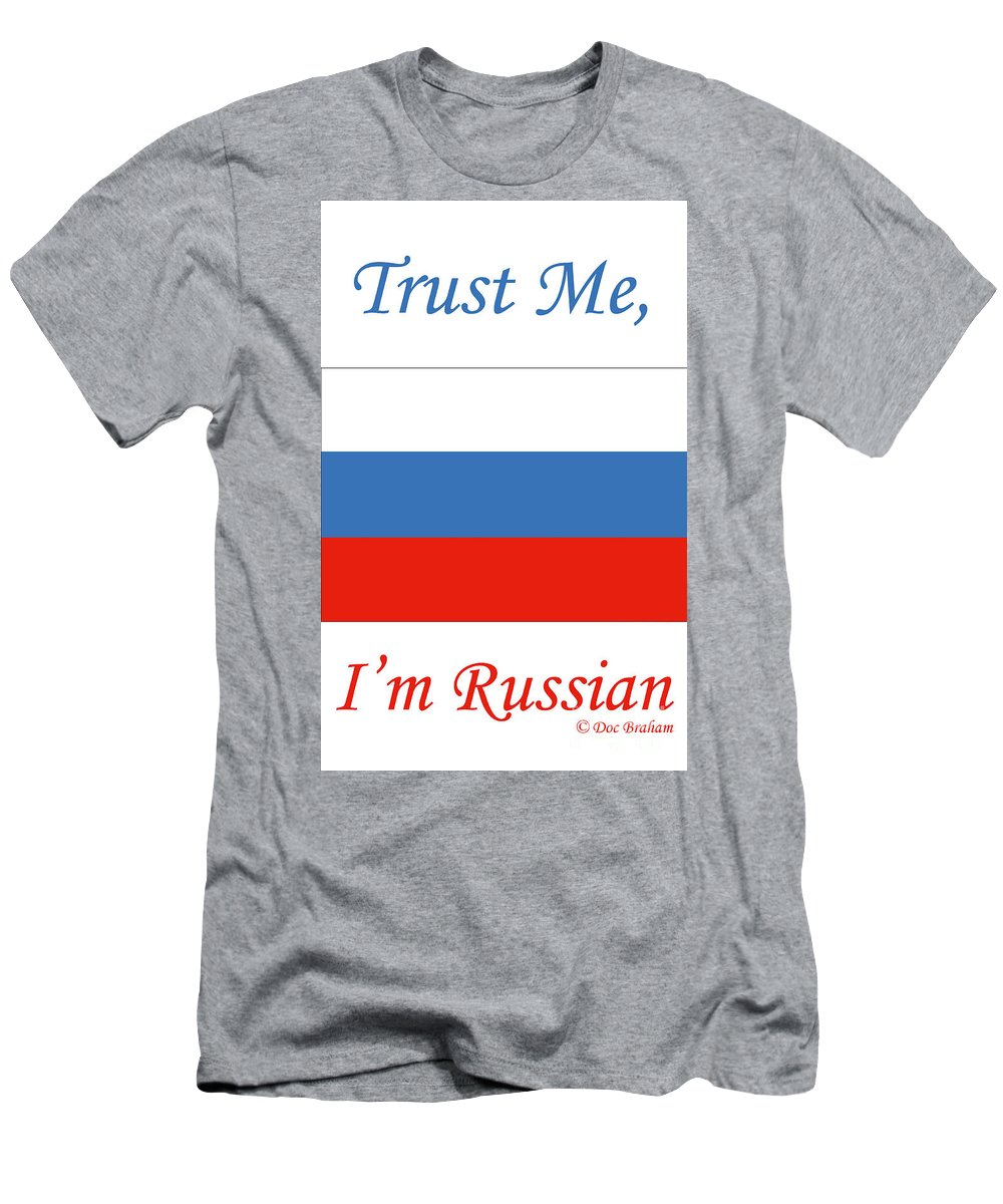 Russia Men's T-Shirt (Athletic Fit) featuring the photograph Russian Flag by Doc Braham