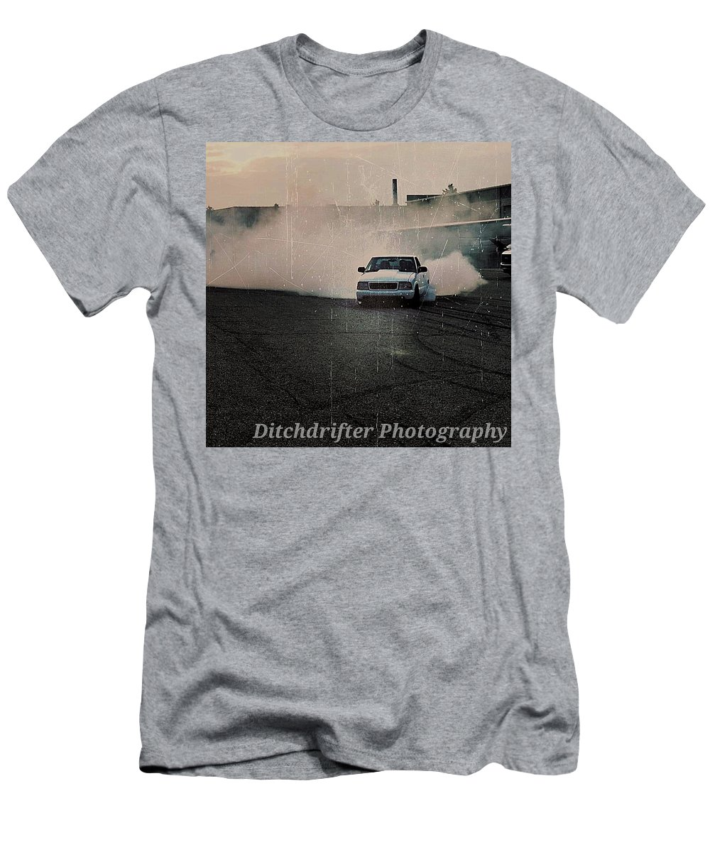 Burnout Men's T-Shirt (Athletic Fit) featuring the photograph S10 Slaying Tires by Jack Gilbert