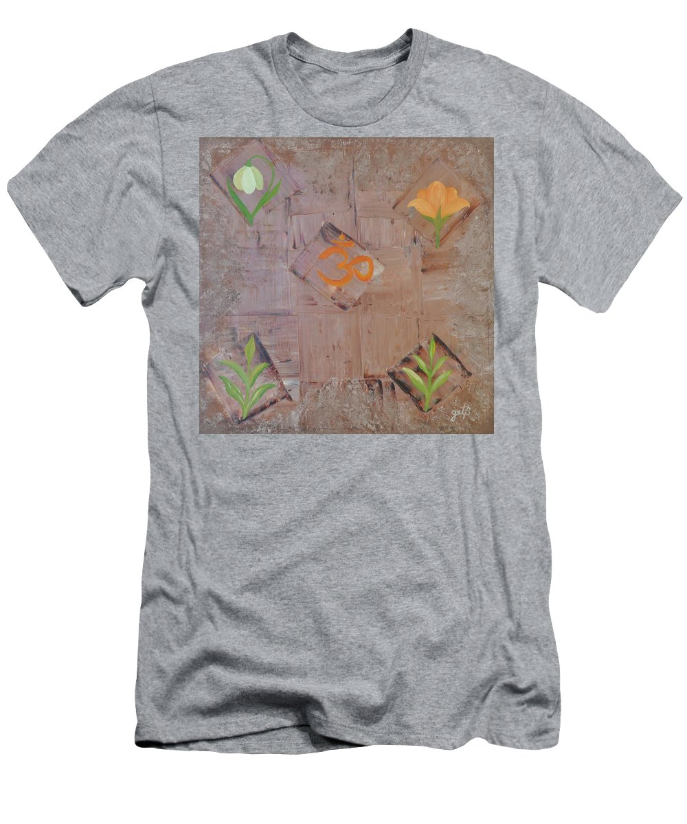 Symbolism Men's T-Shirt (Athletic Fit) featuring the painting Sacred Aum by Georgeta Blanaru