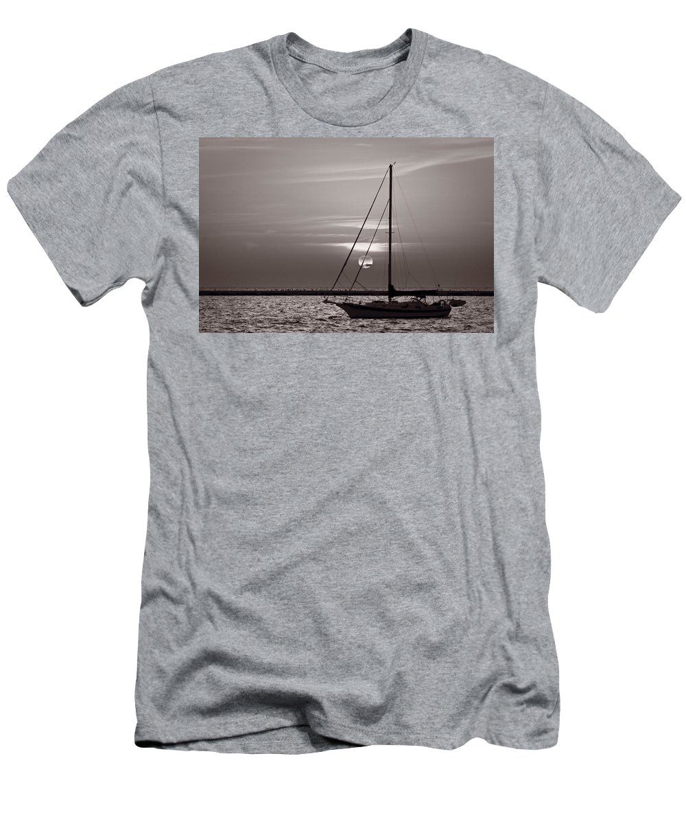 Boat Men's T-Shirt (Athletic Fit) featuring the photograph Sailboat Sunrise In B And W by Steve Gadomski