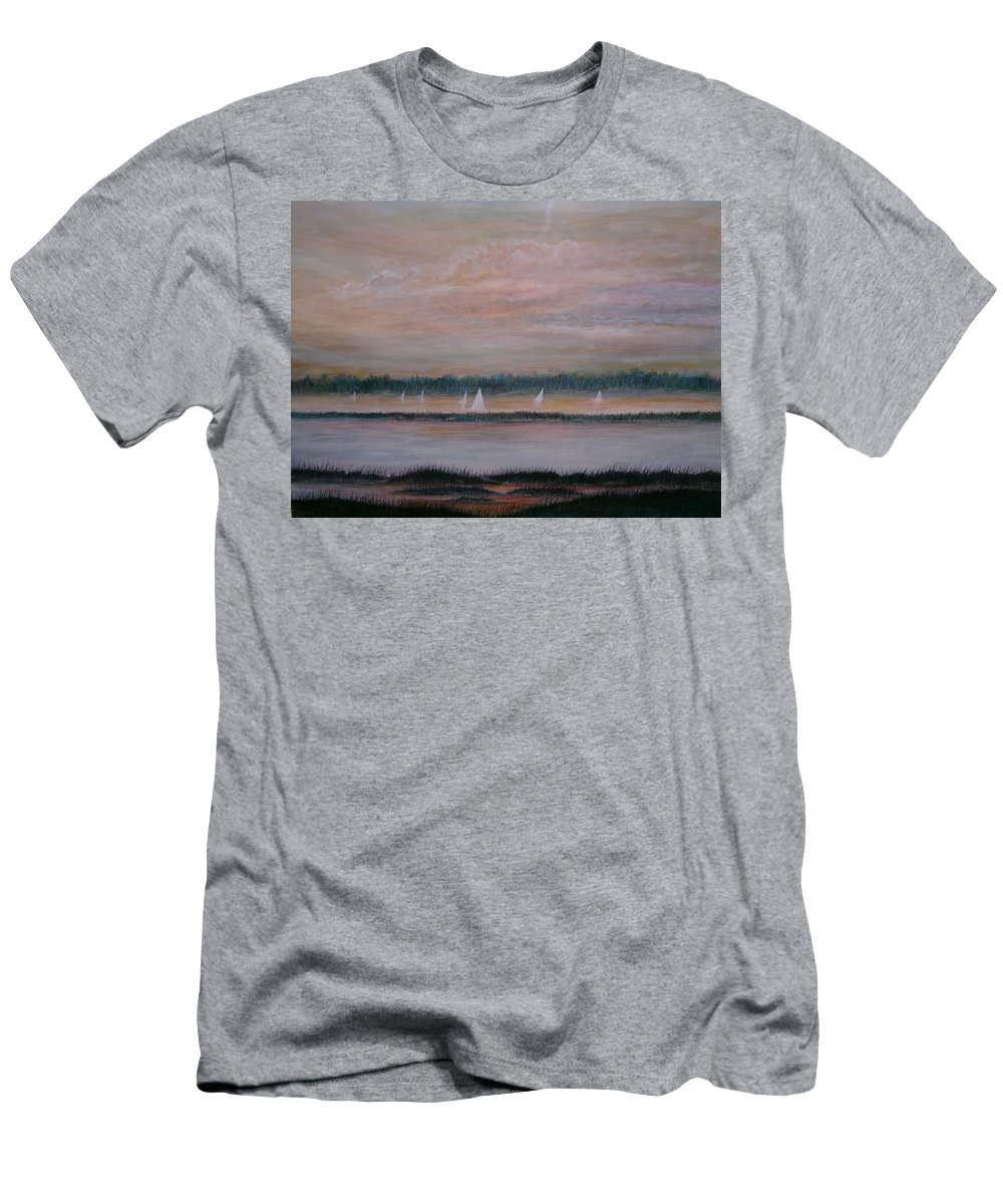 Sailboats; Marsh; Sunset Men's T-Shirt (Athletic Fit) featuring the painting Sails In The Sunset by Ben Kiger