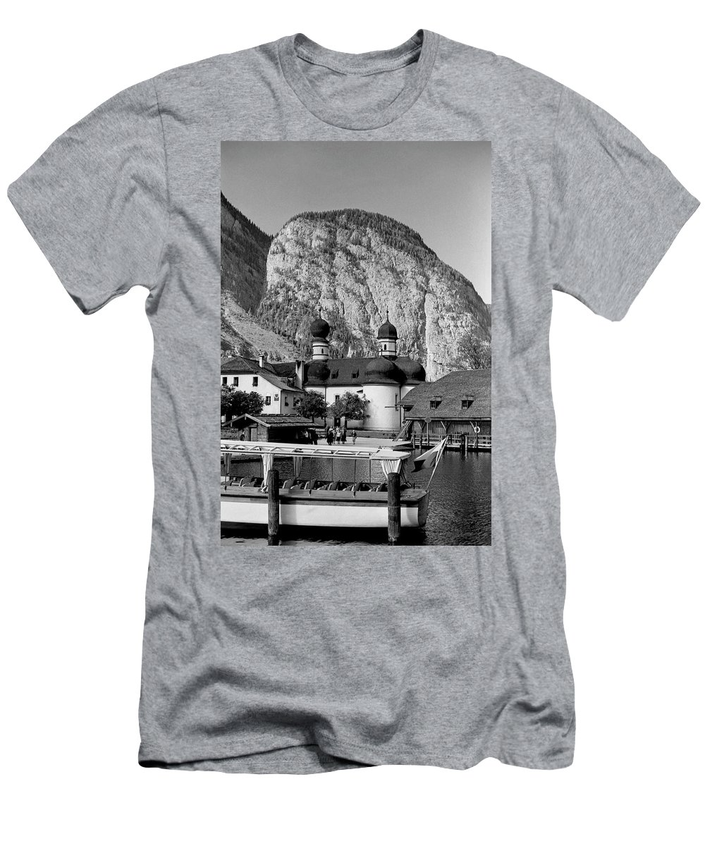 Bavaria Men's T-Shirt (Athletic Fit) featuring the photograph Saint Bartoloma On Konigssee Lake by Lee Santa