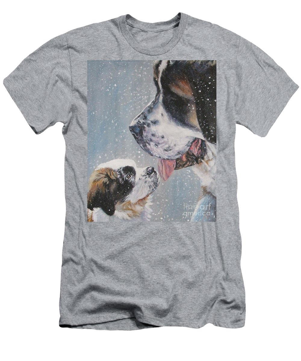 Dog Men's T-Shirt (Athletic Fit) featuring the painting Saint Bernard Dad And Pup by Lee Ann Shepard