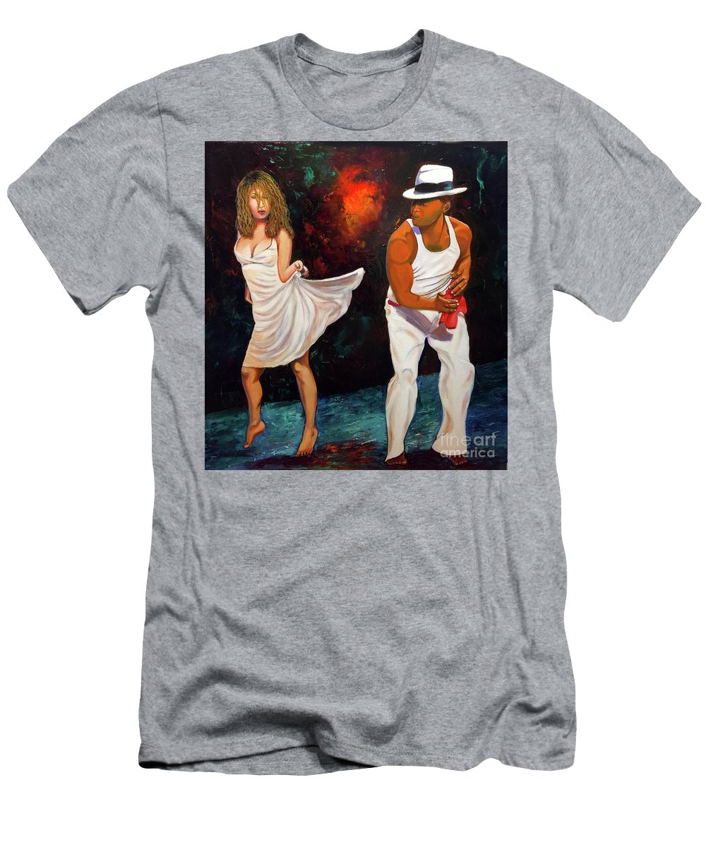 Dancing Cuba Painting Salsa Woman T-Shirt featuring the painting Salsa 2 by Jose Manuel Abraham