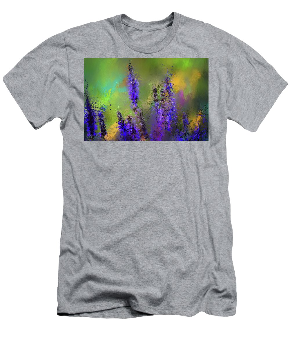 Salvia May Night Men's T-Shirt (Athletic Fit) featuring the painting Salvia May Night Art -purple Modern Abstract Art by Lourry Legarde