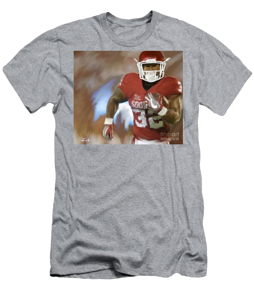 Samaje Perine Men's T-Shirt (Athletic Fit) featuring the painting Samaje Perine '16 by Jack Bunds